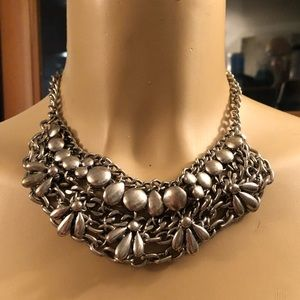 Silver chain floral necklace/choker
